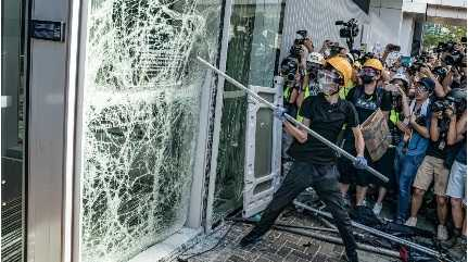 Hong Kong parliament damage