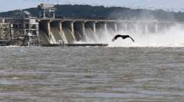 Water flows through Conowingo Dam, a hydroelectric dam