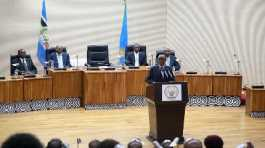 Rwanda's President Paul Kagame delivers remarks after a swearing-in ceremony of senators