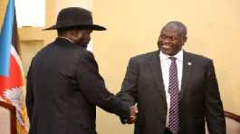 South Sudan's President Salva Kiir Mayardit with Riek Machar