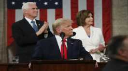 Trump look to the first lady's box, as Vice President Mike Pence and Speaker Nancy Pelosi watch